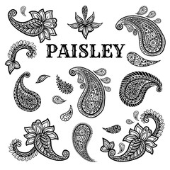 Paisley motifs hand drawn illustrations set. Buta ink pen isolated cliparts. Persian ornate sketch drawings. Monochrome boteh curls collection. Greeting card, textile ornamental design elements