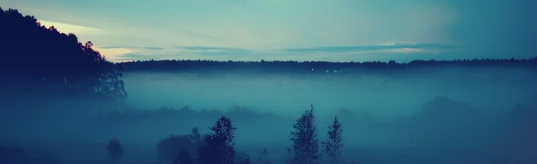 Wall Murals Green blue night fog landscape nature / nature autumn fog blue landscape of a nightlife