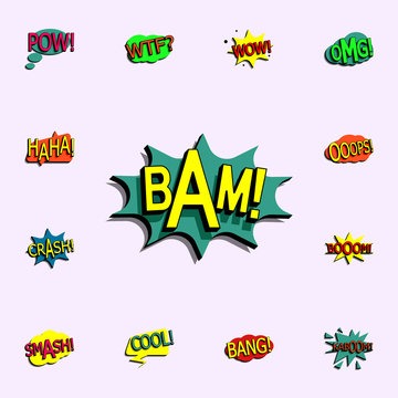 Comic speech bubble with expression text bam icon. comic icons universal set for web and mobile