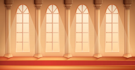 beautiful cartoon hall of a castle with a carpet, vector illustration