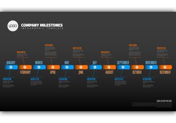 Full Year Blue and Orange Timeline Layout on Dark Background