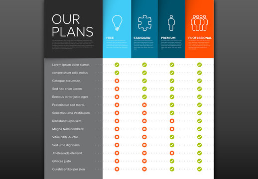 4 Products Features Chart Layout