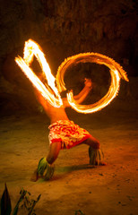 Fire Dancer In Tonga, South Pacific