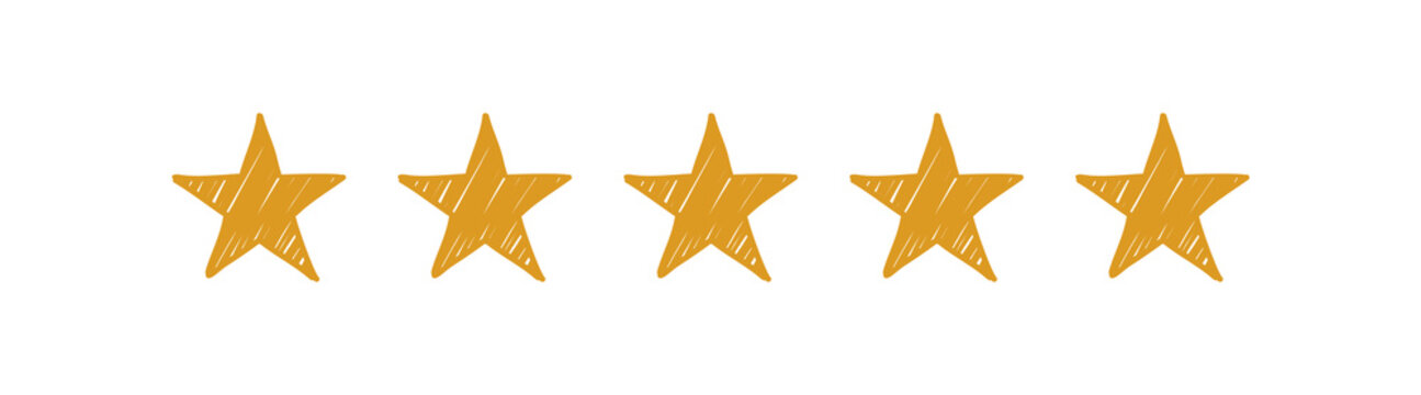 Hand drawn five gold stars on the white background