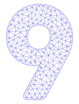 Mesh 9 digit polygonal icon illustration. Abstract mesh lines and dots form triangular 9 digit. Wire frame 2D polygonal line network in vector format isolated on a white background.