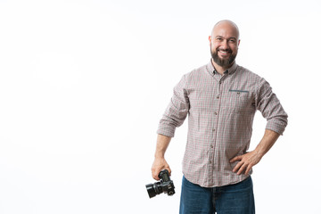 bearded photographer on a white background