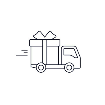 Delivery truck with gift box. Free Delivery concept, stroke flat style illustration isolated on white background