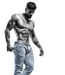 Handsome Shirtless Muscular Fashion Model in Jeans