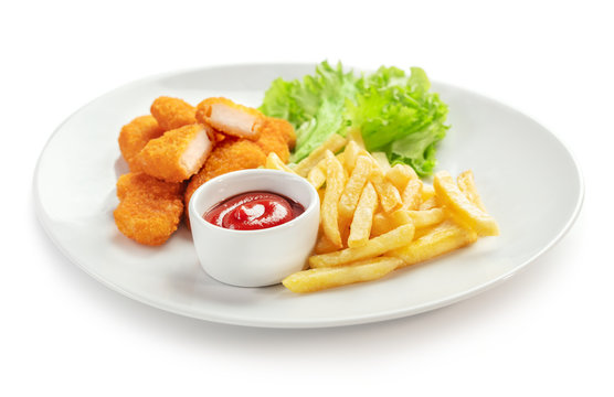chicken nuggets with french fries isolated on white background