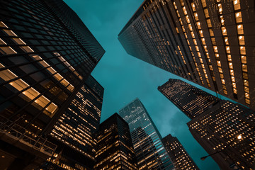 night view of Toronto city skyscrapers; look up; Wall mural
