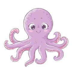 Cute carton octopus. Hand drawn