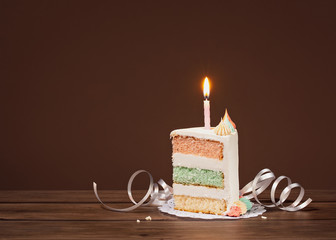 Birthday Cake slice with candle