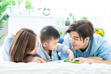 Parent read book with child