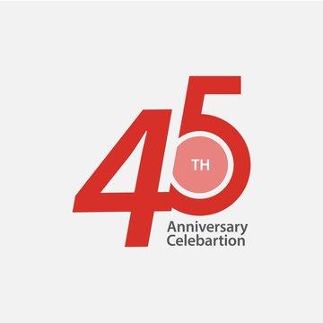 45 th Anniversary Celebration Vector Template Design Illustration