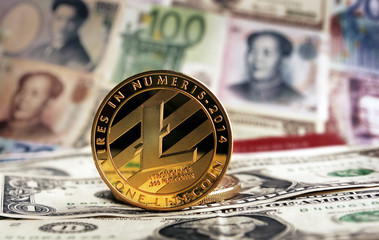 Litecoin  banknotes on background.