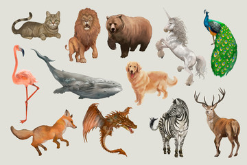 Hand drawn animals and creatures
