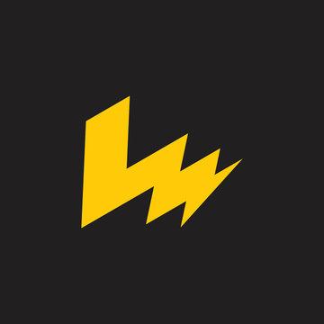 letters lm thunder shape logo vector