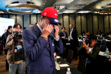 Terry Gou, founder and chairman of Foxconn, reacts during an event that marks the 40th anniversary of the Taiwan Relations Act, in Taipei