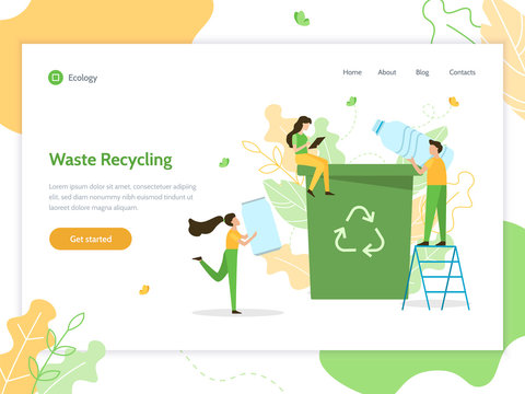 Waste recycling. People sort garbage. Ecology concept. Web banner design template. Flat vector illustration.