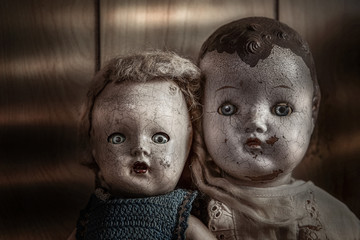 Scary old cracked dolls