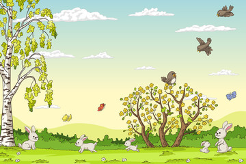 Wall Mural - Spring landscape with rabbits. Hand draw vector illustration.
