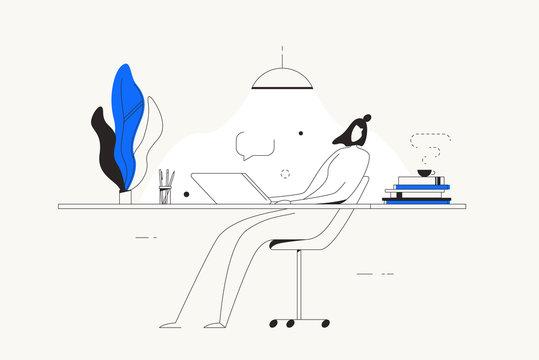 Person computer desk home freelance work vector
