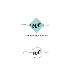 W E WE Initial letter handwriting and  signature logo.