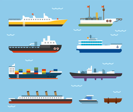 various kind of ships. flat design style minimal vector illustration