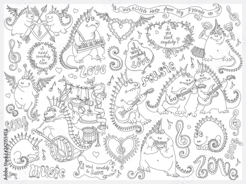 Vector Set Of Funny Cartoon Dragons Playing Music And