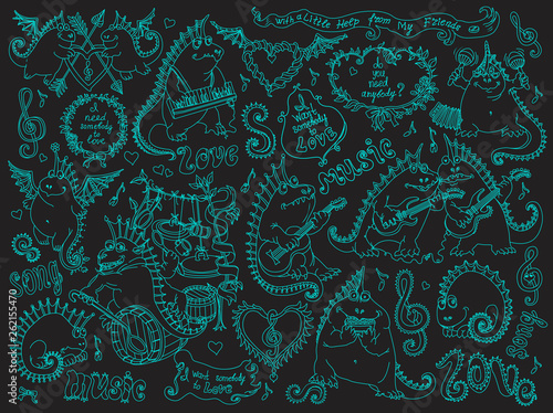 Vector set of funny cartoon dragons playing music and singing a song