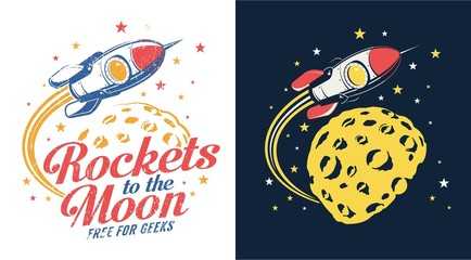 Rocket moon flying - retro logo vector illustration. Stamp print style. Grunge distressed texture on a separate layer.