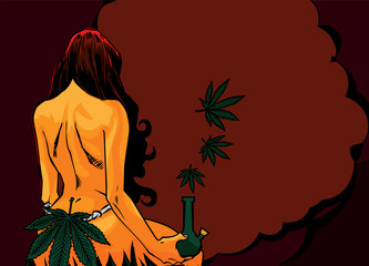 Naked lady with cannabis leafs and bong.
