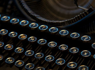 934cb2729ce Vintage antique collectible typewriters close-up. Russian keyboards.
