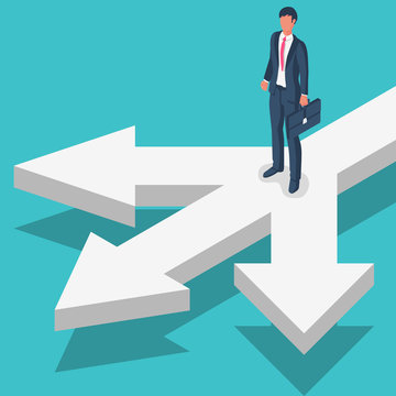 Businessman standing at crossroads. Decide direction. Choice of ways. Crossroads arrows. Human before choosing. Career path choice or strategy. Vector illustration flat design. Isolated background.