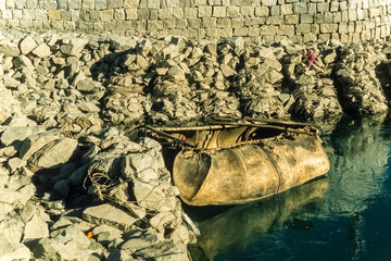 Fähre aus Yak-Leder auf dem Lhasa-Fluss