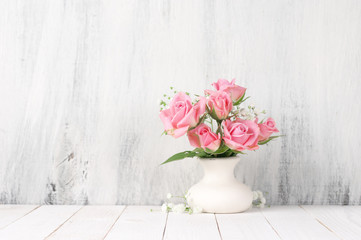 Fresh flowers bouquet of pink roses