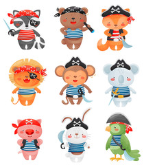 Animal pirates characters in cartoon style. Set of cute funny little pirates vector illustration.