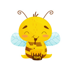 Humanized bee sits eating honey. Cartoon style. Vector illustration.