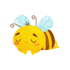 Sleeping bee. Humanized bee sleeping sweetly. Vector illustration on white background. Cartoon style.