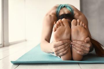 Sporty woman training in gym, closeup