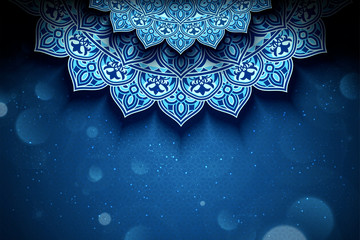 Blue arabesque flower background