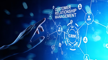 stratégie marketing digital CRM - Customer relationship management automation system software. Business and technology concept.