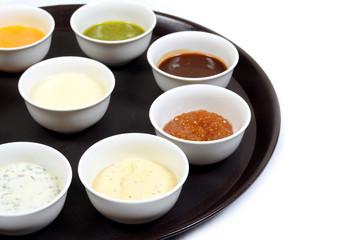 set of sauces. Ketchup, mayonnaise, mustard, soy sauce, barbecue sauce, pesto, mustard