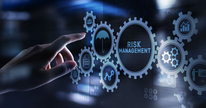 Risk management forecasting evaluation financial business concept on virtual screen.