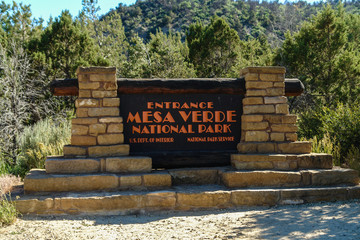 Entrance Sign in Mesa Verde National Park in Colorado, United States