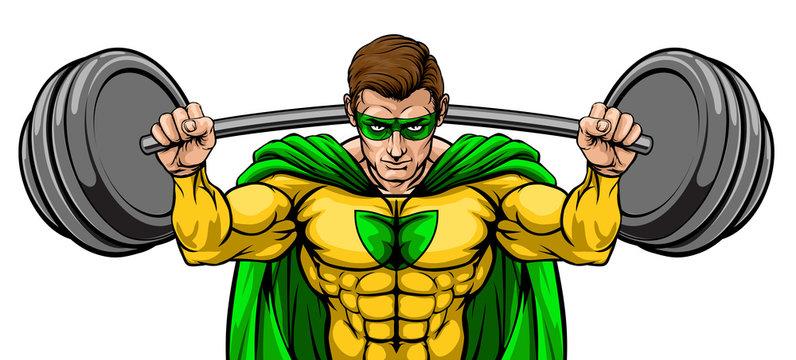 Superhero cartoon sports mascot weightlifter super hero character lifting very large barbell weight