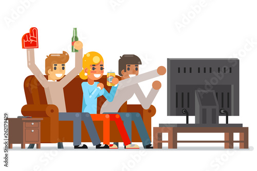 Football Fans Together Gamer Girl Boy Friends Group Watching Tv