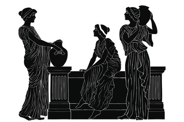 Three ancient Greek women are talking near the parapet with jugs. Antique fresco on a beige background with an aging effect.