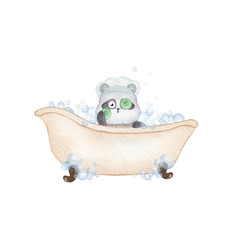 Panda taking a bath. Hand drawn watercolor illustration