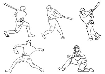 Set of baseball players: pitcher, batter, catcher. Active pose collection. Isolated countour. Black line drawing. Sketch style. Vector outlines.